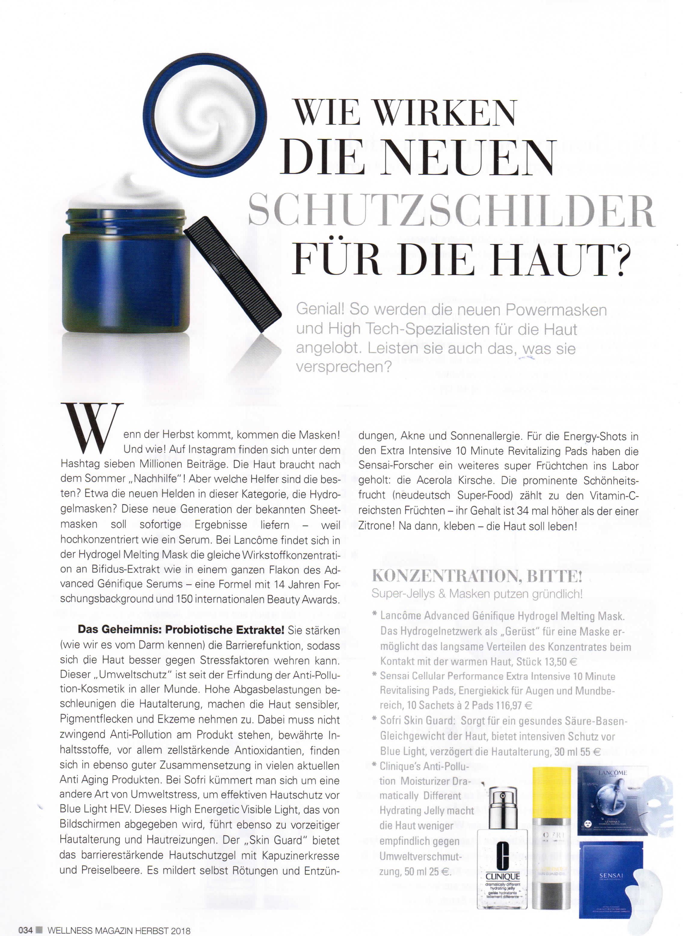 Schutzschilder für die Haut, Wellness Magazin im Oktober 2018