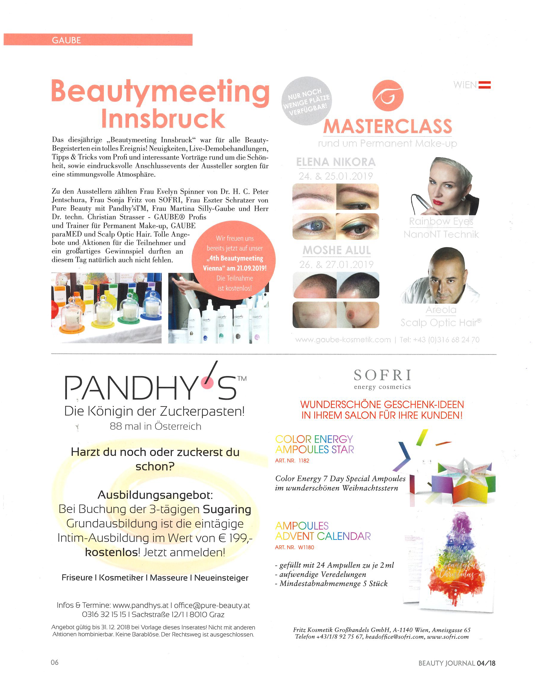 Beautymeeting Innsbruck, Beauty-Journal im Dezember 2018