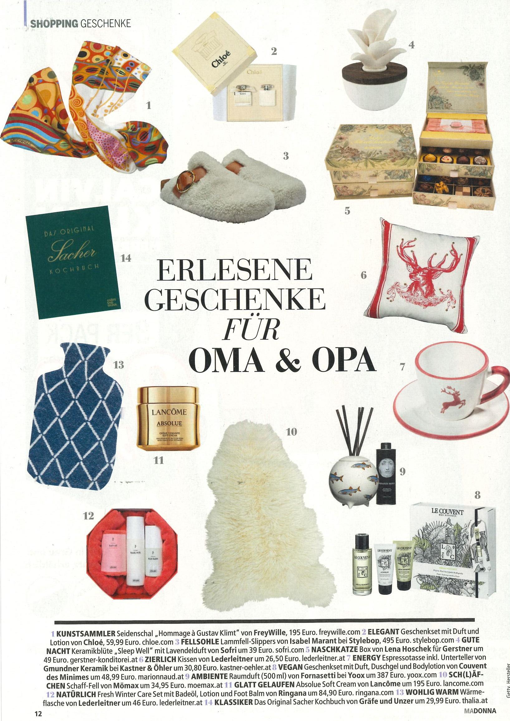 Erlesene Geschenke für Oma & Opa, Madonna im Dezember 2018