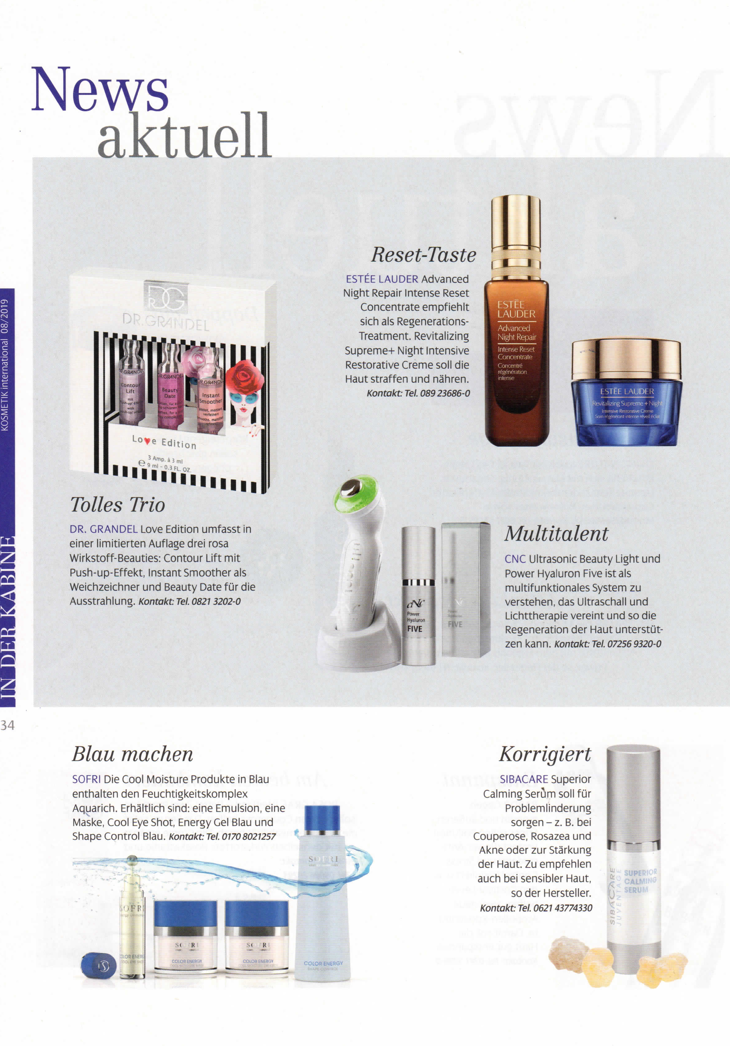 Blau machen, Kosmetik International im August 2019